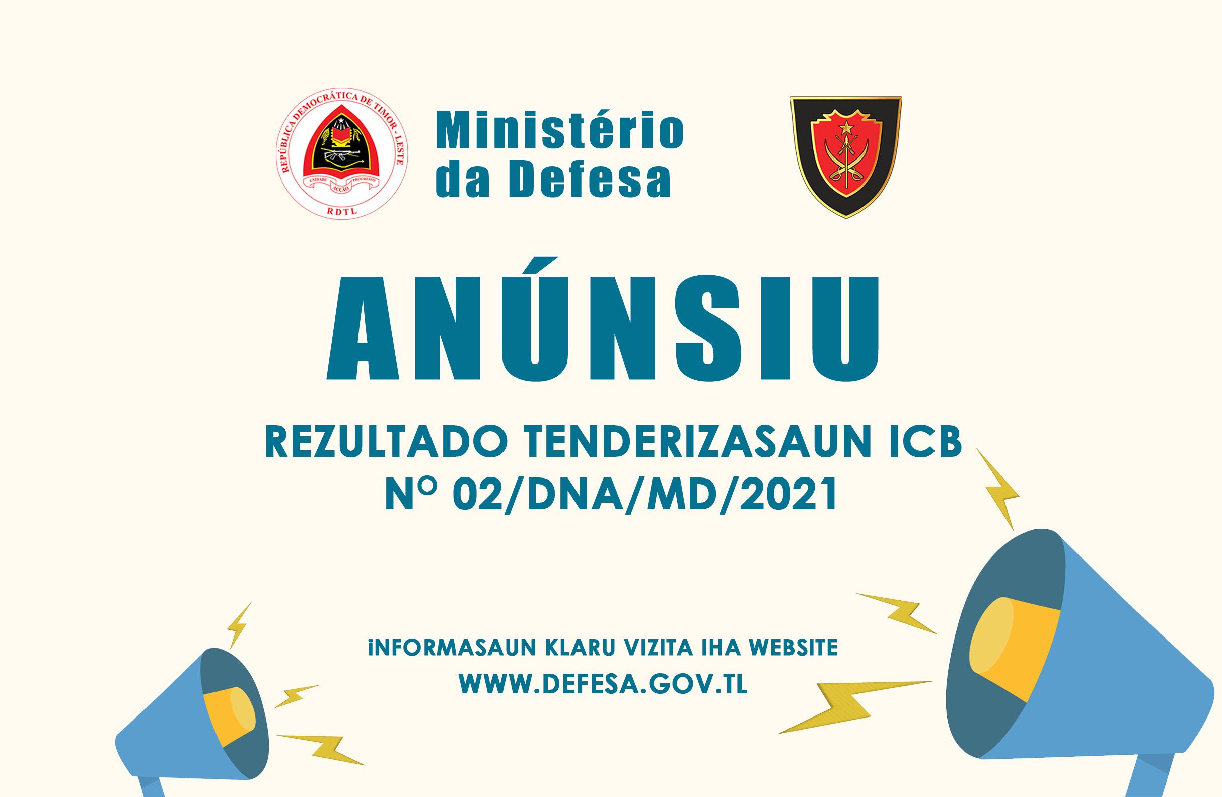 REZULTADO TENDERIZASAUN ICB NO 02/DNA/MD/2021